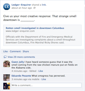 The Ledger Enquirer's Facebook blast about the smell downtown.