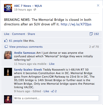 Breaking News Story on WJLA's Facebook Page